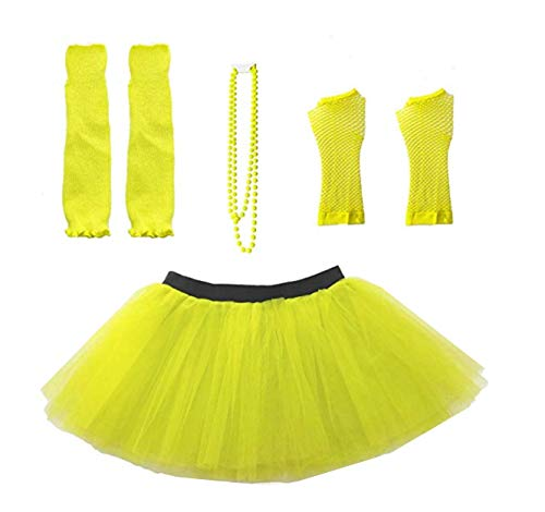 Women's 80s Costume Set in six colors. Skirt, beads, fishnet gloves and leg warmers