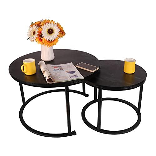 Best Goods Moderna mesa de café redonda, juego de 2, soporte de metal húmedo y mesa de mármol para salón, balcón, oficina (negro)