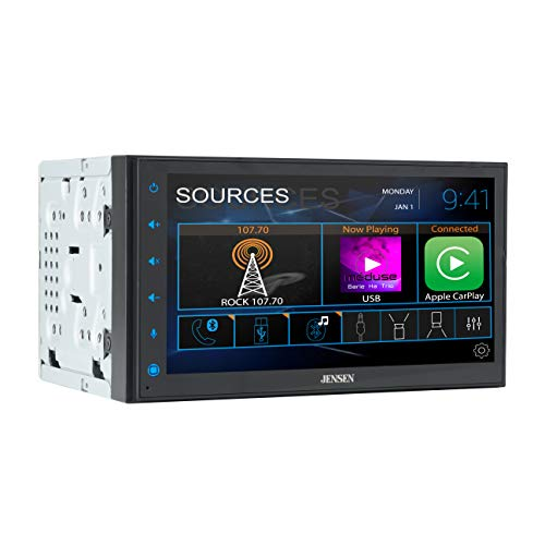 Jensen CAR68 6.8 inch LED Digital Multimedia Touch Screen Double DIN Car Stereo   Apple CarPlay Android Auto   Gesture Interface   RGB Control Panel   MP4 Video Playback   Bluetooth   USB Port