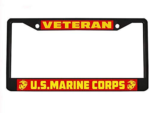U.S. Marine Corps Marines Veteran Military Black License Plate Frame Holder