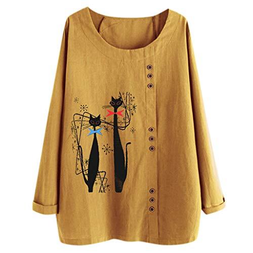TUDUZ Blusas Mujer Manga Larga Camisas Botón Camisetas Impresión Tops Suelto Talla Extra M-5XL (Amarillo.g, XXXXXL)