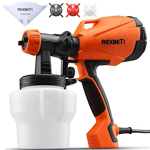 REXBETI Ultimate-750 Paint Sprayer, High Power Hvlp Home Electric Spray Gun, Lightweight, Easy Spraying and Cleaning, 5 Paint Strainers, 4 Nozzles $25