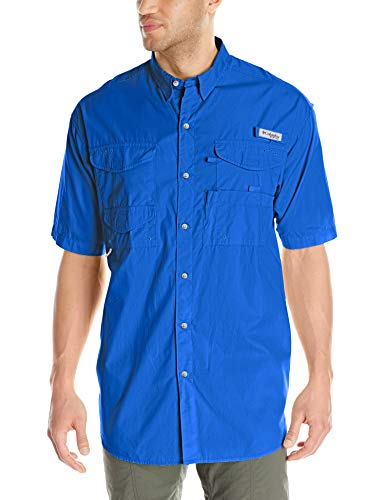 Columbia Standard Men's Bonehead Short-Sleeve Work Shirt, Comfortable and Breathable, Vivid Blue, Medium