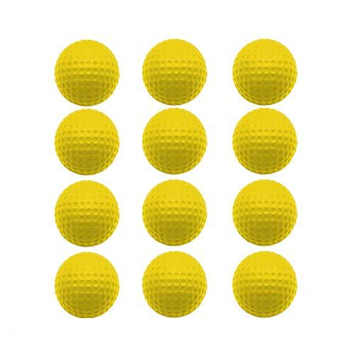 FINGER TEN Golf Übungsbälle Trainingsbälle 12 Stück Golfbälle Trainings Heimgebrauch Im Freien Garten Rot Orange Gelb Blau Für Damen Herren Kinder (Gelb, 12 Stück)