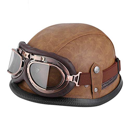 ZLYJ Retro Bowl Helmets, Leather Motorcycle Helmet with Vintage Goggles, Harley Helmet Half Helmet Biker Helmet for Men and Women Adults, DOT Approved