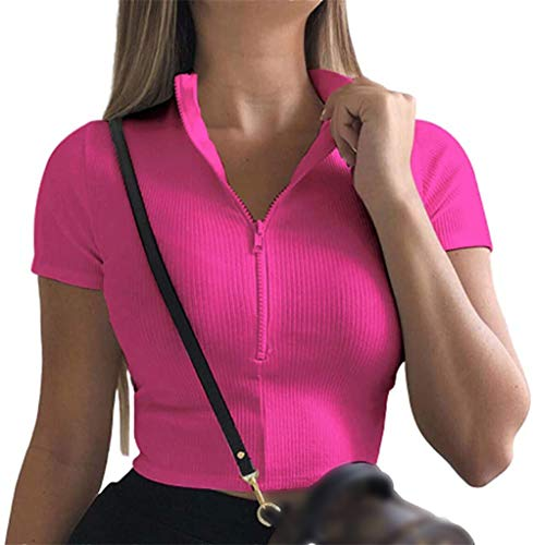 Damen Oberteile Sommer Bauchfrei Crop Top Sexy T-Shirt Reißverschluss Kurzarm Clubwear