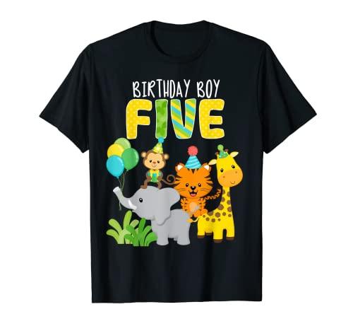 Zoo Safari animales de la selva 5 cumpleaños 5 años Camiseta