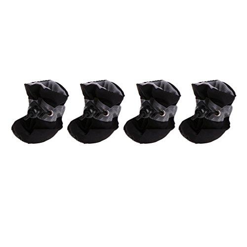 Lyguy huisdier hond huisdier schoenen, waterdichte hond schoenen regen sneeuw laarzen rubber anti-slip schoenen voor kleine hond puppy zwart 6 cm