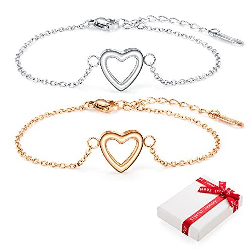 2 pulseras de corazón para mujer de plata y oro rosa con colgante de corazón, pulsera de acero inoxidable, pulsera de la amistad de titanio