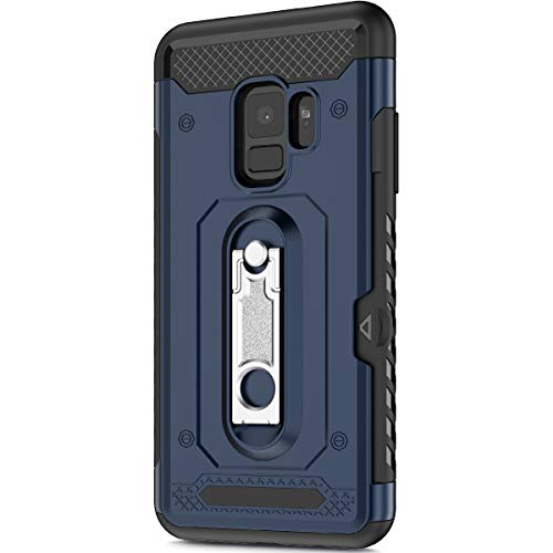 KunyFond Support Mobile Carte Credit Deux en Un Gel Housse Étui Armure 2 en 1 Souple Flexible Ultra Mince PC+TPU Anti-Chute Etui Bumper Case Cover Couverture Coque Compatible Samsung Galaxy S9-Bleu