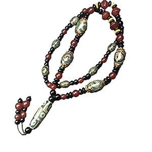 ZHIBO Tibet Natürlicher alter Achat Dzi Perlen Halskette mit Zertifikat