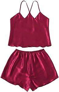 Amaeen Pijamas Mujer Sexy Conjuntos Baratos Nuevo Ropa de Dormir Seda Satinado Camisón Lencería Damas Ropa Interior de Moda Color Sólido Seductora