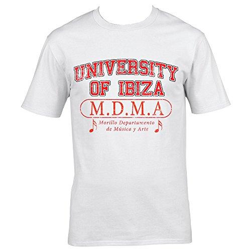 University of Ibiza Departamento de Música Camiseta Hombre - Blanco, XXL - Double XL