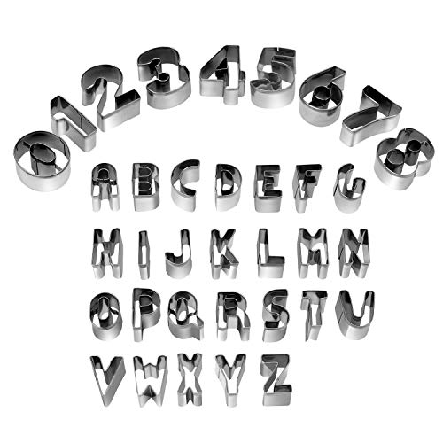 HUAFA Alphabet and Number Cookie Cutters Sets of 35 Pieces Mold Tools for Fondant Biscuit, Cake, Fruit, Vegetables, or Dough Stainless Steel
