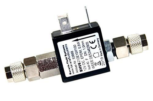 Bavaria Fluid Systems Magnetventil Nachtabschaltung 12V mit Rückschlagventil Made in Germany (ohne Kabel und Netzteil(Stecker) mit hochwertigen Schlauchverschraubungen für 4/6mm Schlauch