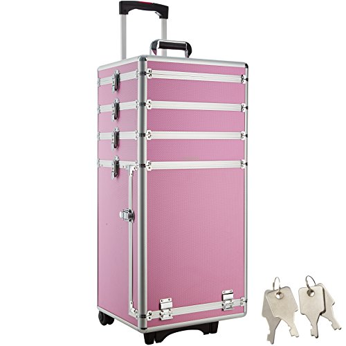 tectake Kosmetikkoffer Pilotenkoffer Beauty Koffer Schminkkoffer Trolley Friseurkoffer -in diversen Farben- (Pink)