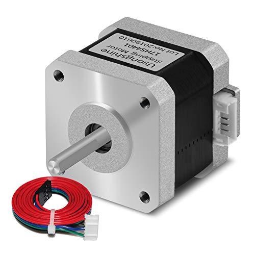Usongshine Schrittmotor Nema 17 1.5A 17HS4401 1.8°4 führen für 3D-Drucker CNC XYZ mit 1M Draht mit isolierten Hülsen (0.42 Nm, Silber, 1Pcs)