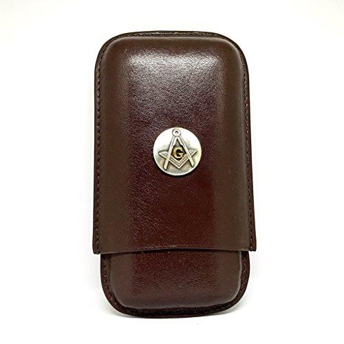 Freemasons 3-Finger Cigar Case – Mason Leather Cigar Case – Cigar Cutters by Jim
