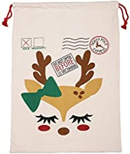 Snowlike Large Christmas Santa Sack Xmas Stocking Reindeer Gift Storage Bag,Canvas,for Family Xmas Party Decorations