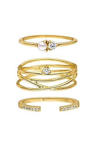 PAUL VALENTINE  Anillo para mujeres - Juego de anillos Marquise, Ariel y Vintage Delight en varias dimensiones - Oro de 18K - Con circonia de calidad superior - Joyas para mujeres