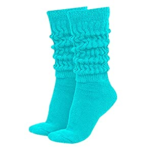 MDR Women's Extra Long & Heavy Slouch Cotton Wear at any Length Socks Made in USA 1 Pair Size 9 to 11 (Aqua)