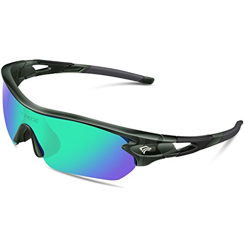 TOREGE Polarized Sports Sunglasses with 5 Interchangeable Lenes for Men Women Cycling Running Driving Fishing Golf Baseball Glasses TR002 (Transparent Gray&Green Lens)
