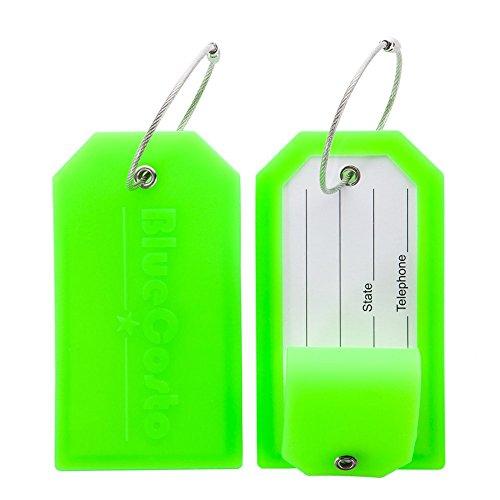CSTOM 2x Etichette per Valigie Bagaglio Targhette Valigia da Viaggio Luggage Tag - Verde