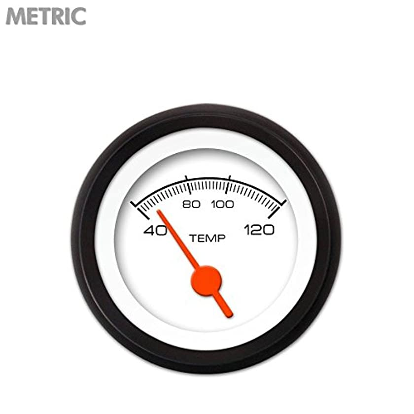 Aurora Instruments 6663 Competition White Metric Water Temperature Gauge (Orange Vintage Needles, Black Trim Rings, Style Kit DIY Install)