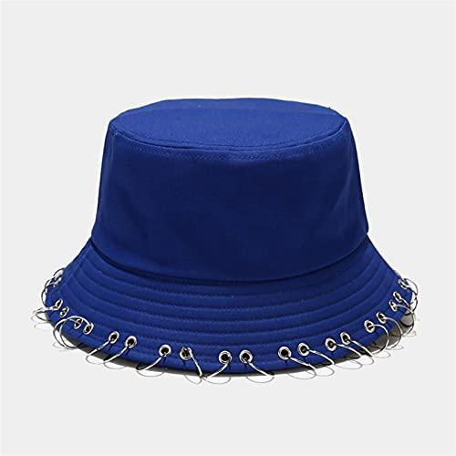 GUOHUU Hoops de la Moda Hoops Bucket Hats Circle Hierro Anillo Sombrero de Pesca Otoño Caza Plegable Sombrero Hip Hop Hat Soft Beach Hat Soild Panamá GUOHUU (Color : Azul)