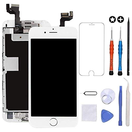 """GULEEK Display per Bianco iPhone 6s Schermo 4,7""""LCD Touch Screen Digitizer Parti di Ricambio (con Home Pulsante, Altoparlante, Fotocamera,Sensore Flex) Strumenti Inclusi"""
