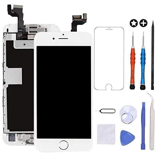 GULEEK Pantalla para iPhone 6s 4.7' LCD Táctil Pantalla con Cámara Frontal,Sensor de proximidad,Altavoz, ensamblaje de Marco digitalizador y Kit de reparación (Blanco)