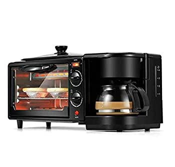 Toaster Family Multifunction Electric Toaster Machine 3 in 1 Stainless Steel Oven Coffee Maker with Kettle Egg Griddle Nonstick Pot 650W Black