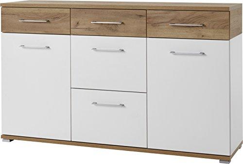 Germania 3778-513 Sideboard GW-Topix in Weiß/Navarra-Eiche-Nachbildung, 144 x 87 x 40 cm (BxHxT)