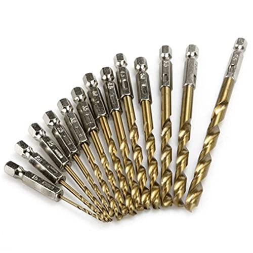 Brocas, 13pcs Titanium Recubrió Bit Bit Bit 1/4 Hex Shank 1.5-6.5mm Destornillador Twist Bit Bit HSS Acero de alta velocidad para Madera Plástico Aluminio (Color : As show)