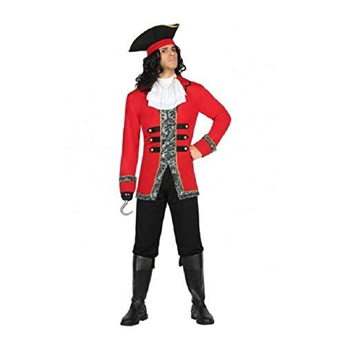 Atosa- Disfraz hombre capitán pirata, Color negro y rojo, M-L (18214)