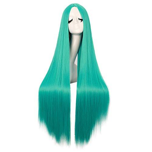 MapofBeauty 40 Inch/100cm Fashion Straight Long Costume Anime Cosplay Wig (Teal Green)