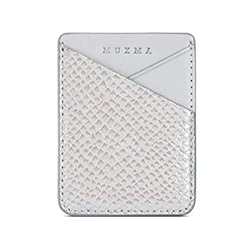 LUVI Phone Wallet Sticker Card Holder for Phone Case Credit Card Holder for Back of Phone Pocket Sleeves Stick on PU Leather Wallet with Glossy Snake Skin Silver