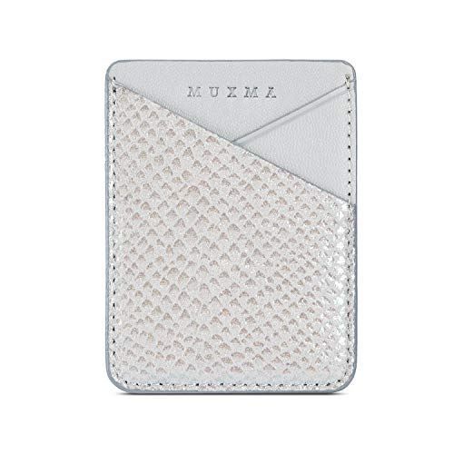 LUVI Phone Card Holder Wallet Sticky Phone Wallet PU Leather Wallet with Glossy Holographic Gradient Ramp Snake Skin Design Pocket Pouch Sleeve Slim Sticky Wallet for Back of Phone Case Silver