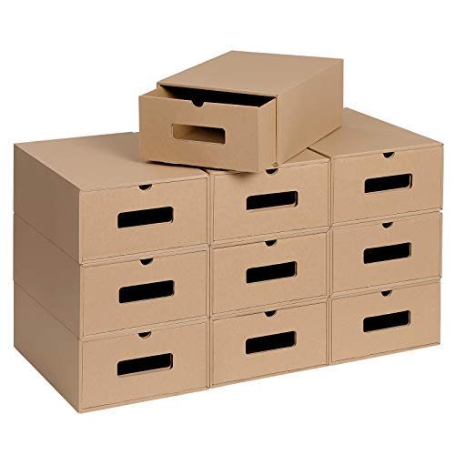 Cajas de cartón para zapatos, juego de 10, organizadores de almacenamiento de zapatos, cajas de almacenamiento apilables, cartón corrugado...