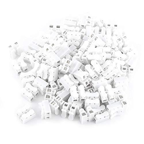 Kabelverbinder - Nimoa 10A 220V 2-poliger Schnellkabelverbinder, Kabelklemme, Weiß, 100 Stk
