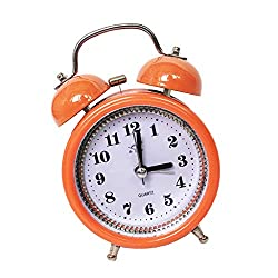 FLAMEER 3.15'' Retro Twin Bell Alarm Clock Battery Operated Silent Non-Ticking Bedside Desk Analog with Backlight - Orange, 12x8x5cm