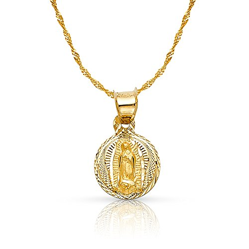 14K Yellow Gold Diamond Cut Our Lady of Guadalupe Stamp Charm Pendant with 0.9mm Singapore Chain Necklace - 16'
