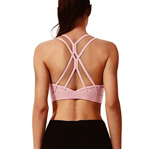 Voqeen Sujetador Deportivo para Mujer con Correas Cruzadas en la Espalda Sujetador de Yoga con amortiguación de Alto Impacto sin Costuras con Tiras para Gimnasio