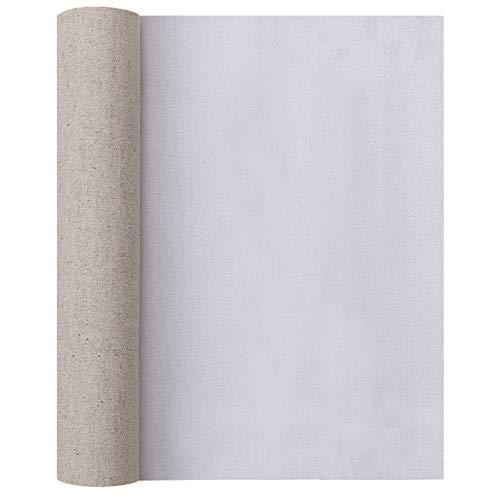 Insun Rollo de Lienzo para Pintar, Lienzo de Algodón Lino Blanco para Diseñar con Pintura Acrílica y Pintura al óleo Grano Medio 0.45x10m