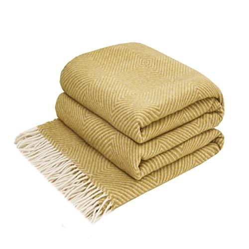 LoveYouHome Romben Wolle Merinowolle Decke-Kuscheldecke Extra groß Überwurf Merino (140 cm X 200 cm - Senf-Gelb)