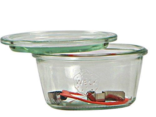Weck Bote de 370 ml, con tapadera de 100 mm, con Junta y Clips, Caja de 6 Piezas, Cristal, Transparente