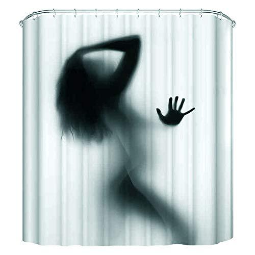 Milya Anti-Schimmel Duschvorhang Badvorhang, mit 12 Duschvorhangringen Antibakteriell Waschbar, Polyester, Sexy Frau Schatten 180x180cm