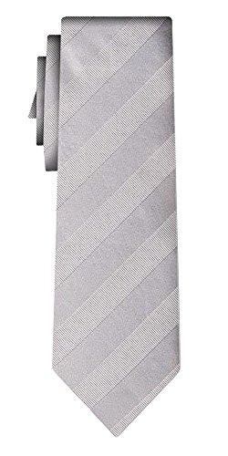 Cravate soie unie regular stripe silver in silver