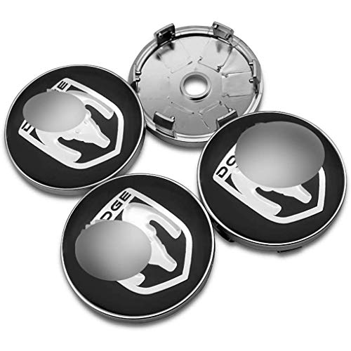 Aieryu 4Pcs Tapas Centrales de Llantas para Dodge Journey Ram 1500 2500 Caliber Nitro Charger Durango, 3D Emblema Aluminio Tapas Centrales de Bujes Pegatinas con el Logotipo Rueda Accesorios, 60mm