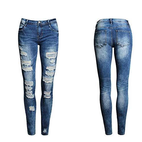 nobrand Neue Damen Jeans Female Blue Slim Ripped Jeans für Damen Skinny Distressed Washed Stretch Jeanshose Femme Plus Size